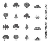 tree and grass icons set | Shutterstock .eps vector #303206222