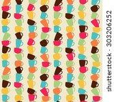coffee mug pattern | Shutterstock .eps vector #303206252