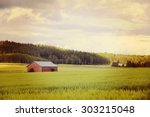 an old barn in a green field... | Shutterstock . vector #303215048