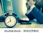 tired   headache asian... | Shutterstock . vector #303229802