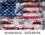 grungy american flag  fictional ... | Shutterstock . vector #303238256