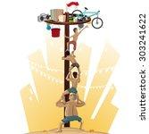 panjat pinang  pole climbing....   Shutterstock .eps vector #303241622