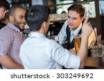 beer evening in a pub. portrait ... | Shutterstock . vector #303249692