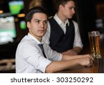 beer evening. young and... | Shutterstock . vector #303250292