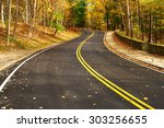 Autumn scene with road in forest at Letchworth State Park - stock photo
