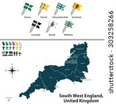 vector map of south west... | Shutterstock .eps vector #303258266