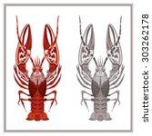 decorative ornament crayfish on ... | Shutterstock .eps vector #303262178