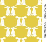 seamless pattern with hares.... | Shutterstock .eps vector #303264926