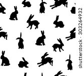 seamless pattern with hares.... | Shutterstock .eps vector #303264932