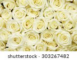 Stock photo isolated close up of a huge bouquet of white roses 303267482
