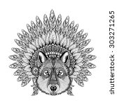 Hand Drawn Zentangle Wolf In...