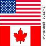 us and canadian flag | Shutterstock .eps vector #3032748