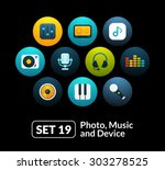 flat icons set 19   audio and...