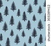 fir tree pattern. engraved... | Shutterstock .eps vector #303289412