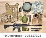 Set Of Military Equipment Of...