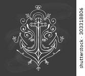 vintage hand drawn flourish... | Shutterstock .eps vector #303318806