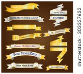 gold and silver ribbon for... | Shutterstock .eps vector #303327632