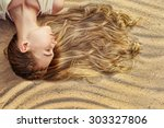 blonde woman with long wavy... | Shutterstock . vector #303327806