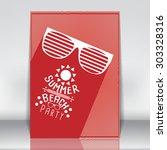 minimal flat summer beach party ... | Shutterstock .eps vector #303328316