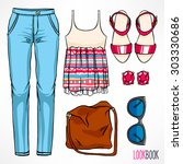 woman's summer outfit. jeans... | Shutterstock .eps vector #303330686