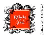 eco natural food menu... | Shutterstock .eps vector #303342566
