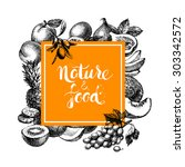 eco natural food menu... | Shutterstock .eps vector #303342572