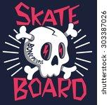 vector skateboard skull design | Shutterstock .eps vector #303387026