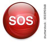 sos button. round sticker.... | Shutterstock .eps vector #303390368