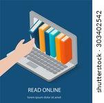 isometric online reading ...   Shutterstock .eps vector #303402542