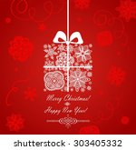 christmas red card with gift box | Shutterstock . vector #303405332