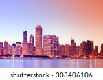 chicago downtown at sunset with ...   Shutterstock . vector #303406106