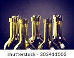closeup of empty bottles of wine   Shutterstock . vector #303411002