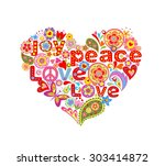 print with colorful hippie... | Shutterstock . vector #303414872