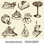 snacks retro sketch | Shutterstock .eps vector #30342805