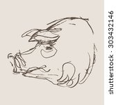 pig vector  hand draw sketch  | Shutterstock .eps vector #303432146