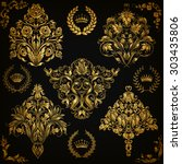Set Of Gold Damask Ornaments....