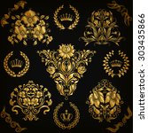 set of gold damask ornaments.... | Shutterstock .eps vector #303435866