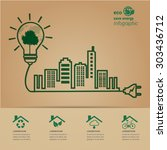 eco energy  green city concept. | Shutterstock .eps vector #303436712