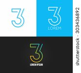 number three 3 logo design icon ... | Shutterstock .eps vector #303436892