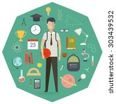 set of school objects and...   Shutterstock .eps vector #303439532