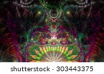 abstract psychedelic colorful... | Shutterstock . vector #303443375
