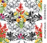 seamless floral pattern on... | Shutterstock . vector #303446252