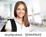 female student  backpack ... | Shutterstock . vector #303449642