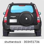 Suv Black Car   Back View