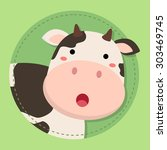 Cute Cow Moo Face in Green Circle. Editable vector illustration of a cute cow cartoon in green background.