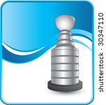 hockey trophy on blue wave... | Shutterstock .eps vector #30347110