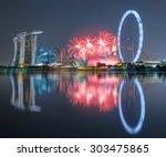 beautiful fireworks celebrating ... | Shutterstock . vector #303475865
