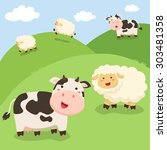 cute cow and sheep standing on... | Shutterstock .eps vector #303481358