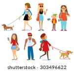 people with dogs | Shutterstock .eps vector #303496622