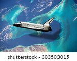 top view rockets fly over the... | Shutterstock . vector #303503015